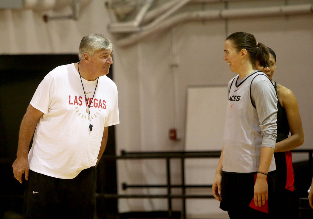 Las Vegas Aces Coach Bill Laimbeer jokes with Ruth Hamblin during the first training camp of th ...