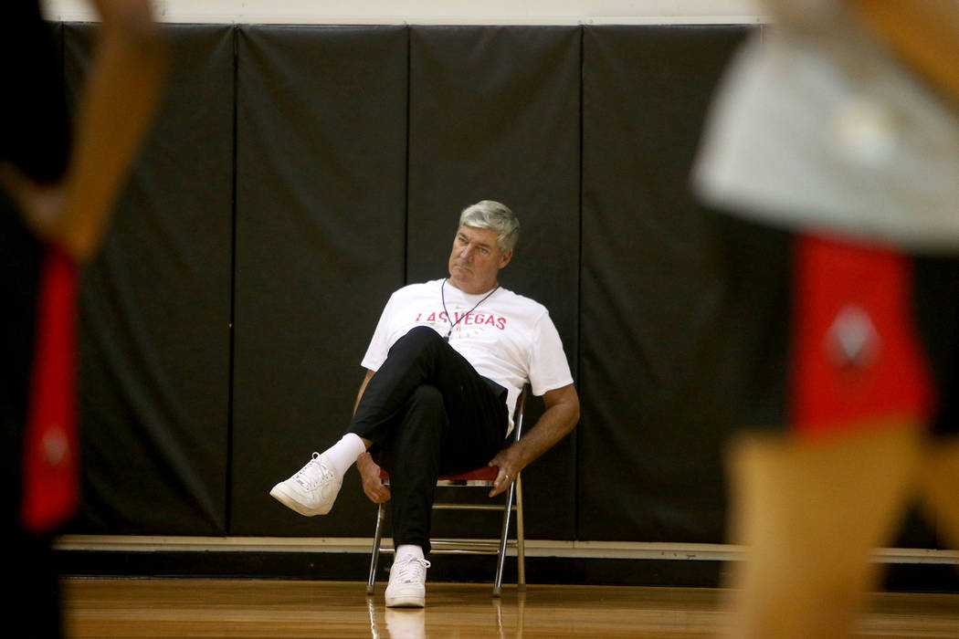 Las Vegas Aces Coach Bill Laimbeer watches practice during the first training camp of the seaso ...