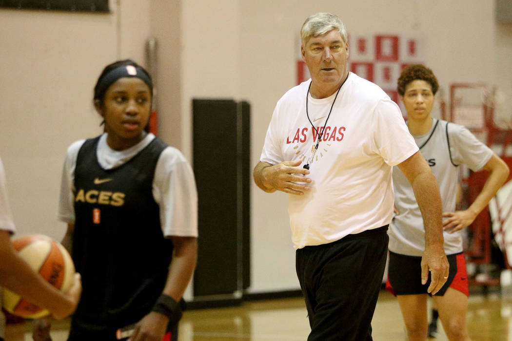 Las Vegas Aces Coach Bill Laimbeer leads practice during the first training camp of the season ...
