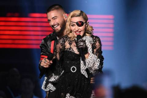 "Maluma and Madonna perform ""Medellin"" at the Billboard Music Awards on Wednesday, May 1, 2019, ..."