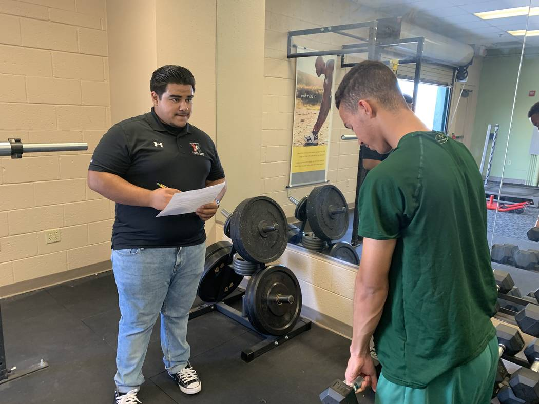 Ivan Parra, left, a senior at Mojave High School, said he has dreams to one day be a physical t ...