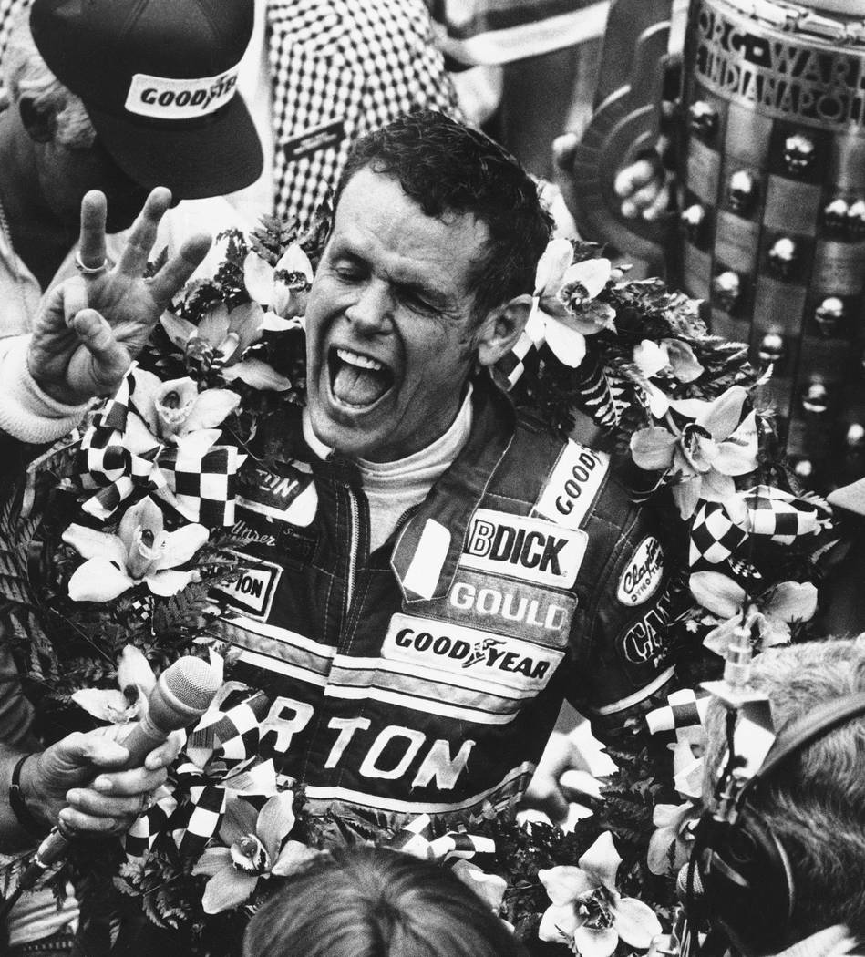 FILE - In this May 24, 1981 file photo, Bobby Unser celebrates after winning the 65th running o ...