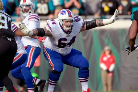 In this Jan. 7, 2018, file photo, Buffalo Bills offensive guard Richie Incognito (64) sets up t ...