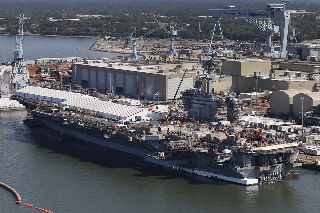 The nuclear-powered aircraft carrier USS Abraham Lincoln at Newport News Shipbuilding in Newpor ...