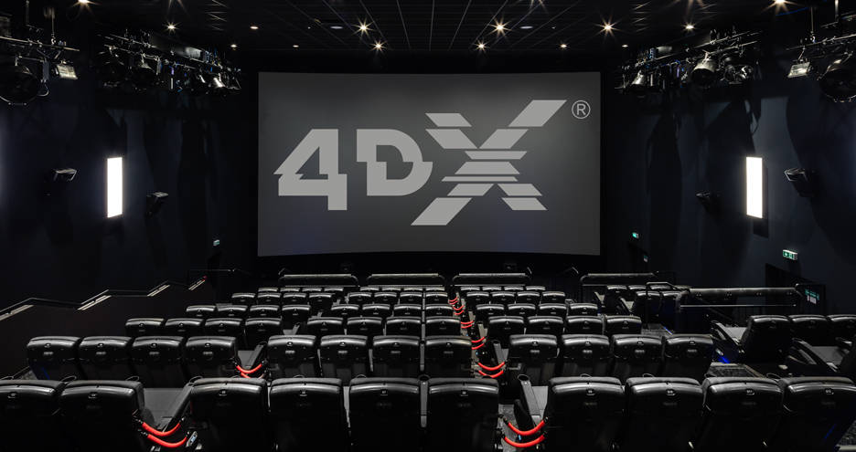 Seats in Red Rock Resort's 4DX movie theater come four to a pod and move as one as they pitch, ...
