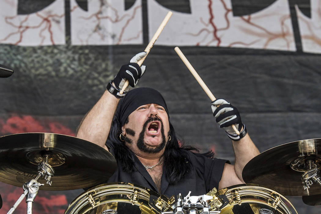 In this Oct. 1, 2016, file photo, Vinnie Paul of HELLYEAH performs at the Louder Than Life Fest ...