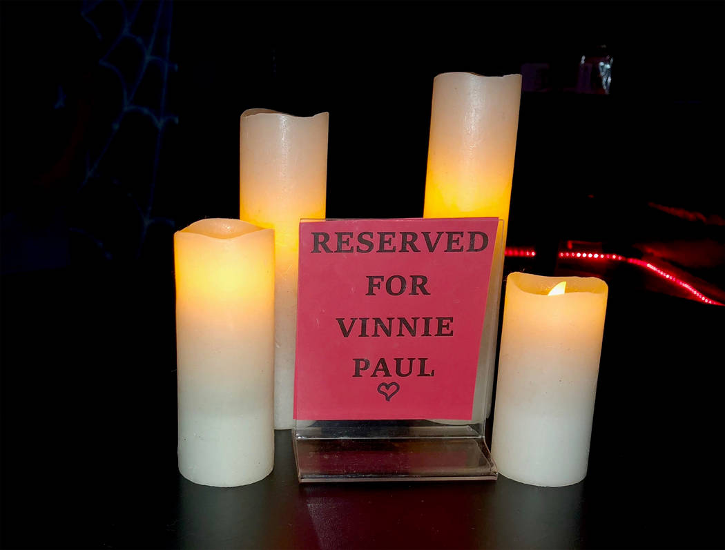 Vinnie Paul had his own table at Count's Vamp'd, where he was remembered upon his passing in Ju ...