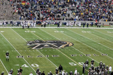 The logo on the field for the Army Black Knights during a college football game on Saturday, Oc ...