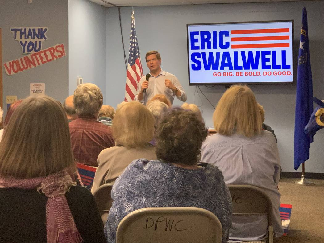 California Rep. Eric Swalwell speaking to a gathering of Washoe County Democrats in Reno Monday ...