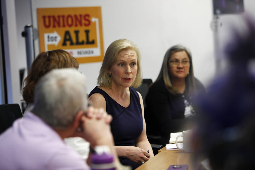 Democratic presidential candidate Sen. Kirsten Gillibrand speaks to community members and leade ...