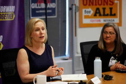 Democratic presidential candidate Sen. Kirsten Gillibrand speaks to community members and leade ...