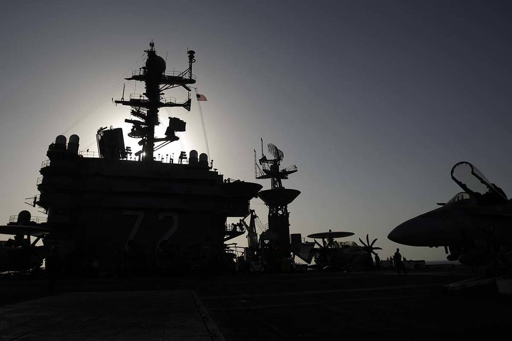 A Feb. 14, 2012, file photo shows the bridge of the Nimitz-class aircraft carrier USS Abraham L ...