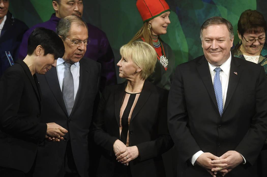 From left, Norwegian Foreign Minister Ine Marie Eriksen Soreide, Russia's Foreign Minister Serg ...