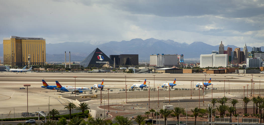 Las Vegas-based Allegiant Air planes sitting on the tarmac at McCarran International Airport. A ...