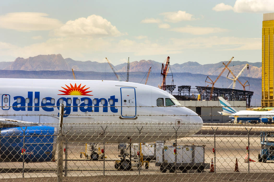 A Las Vegas-based Allegiant Air plane sitting on the tarmac at McCarran International Airport w ...