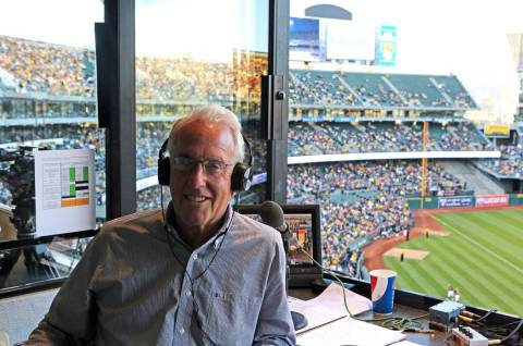 Oakland Athletics broadcaster Ken Korach, a Las Vegas resident, prepares to call a recent game ...