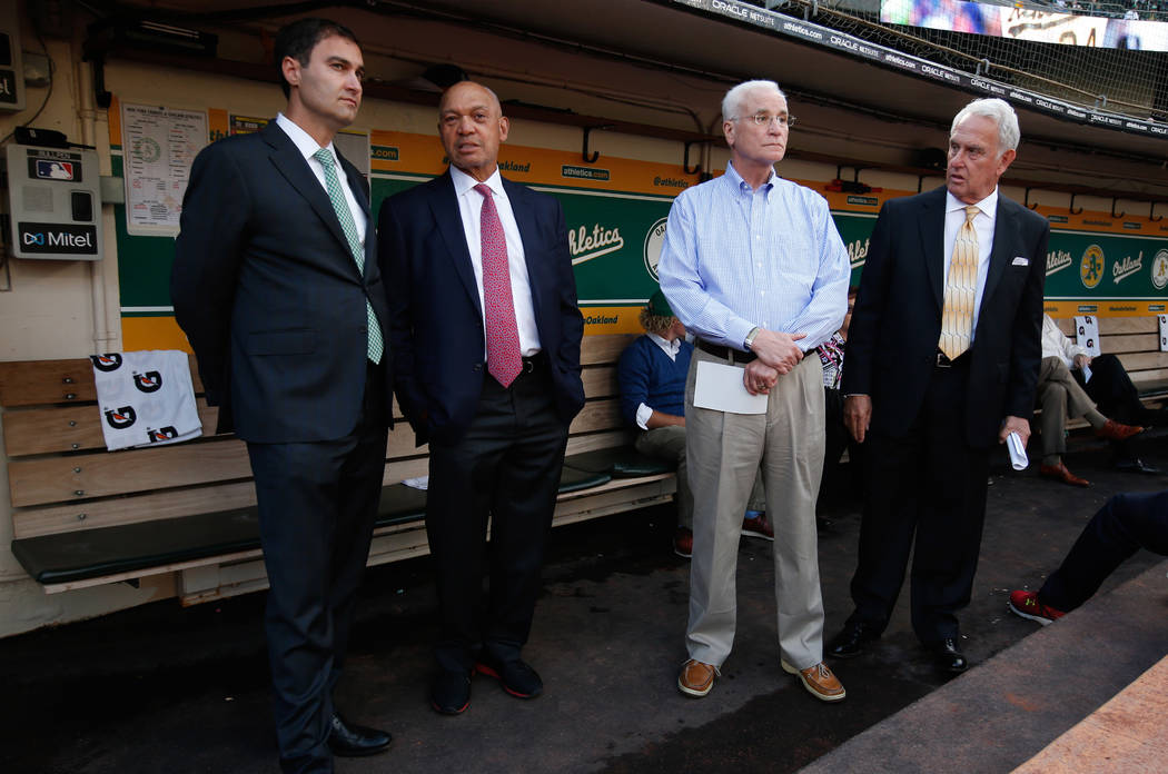 Oakland Athletics broadcaster Ken Korach (far right) a Las Vegas resident, prepares to lead an ...
