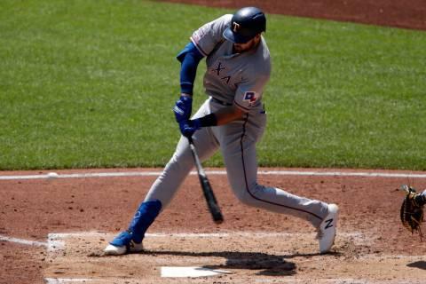 Texas Rangers' Joey Gallo hits a two-run home run off Pittsburgh Pirates starting pitcher Nick ...