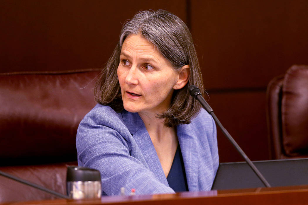 Sen. Julia Ratti, D-Sparks, leads a Health and Human Services Committee meeting in the Legislat ...