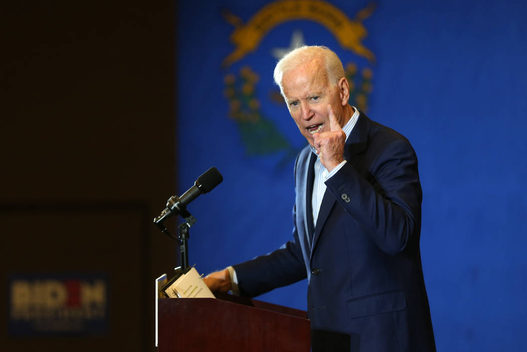 Democratic presidential candidate Joe Biden speaks during a campaign stop at the International ...