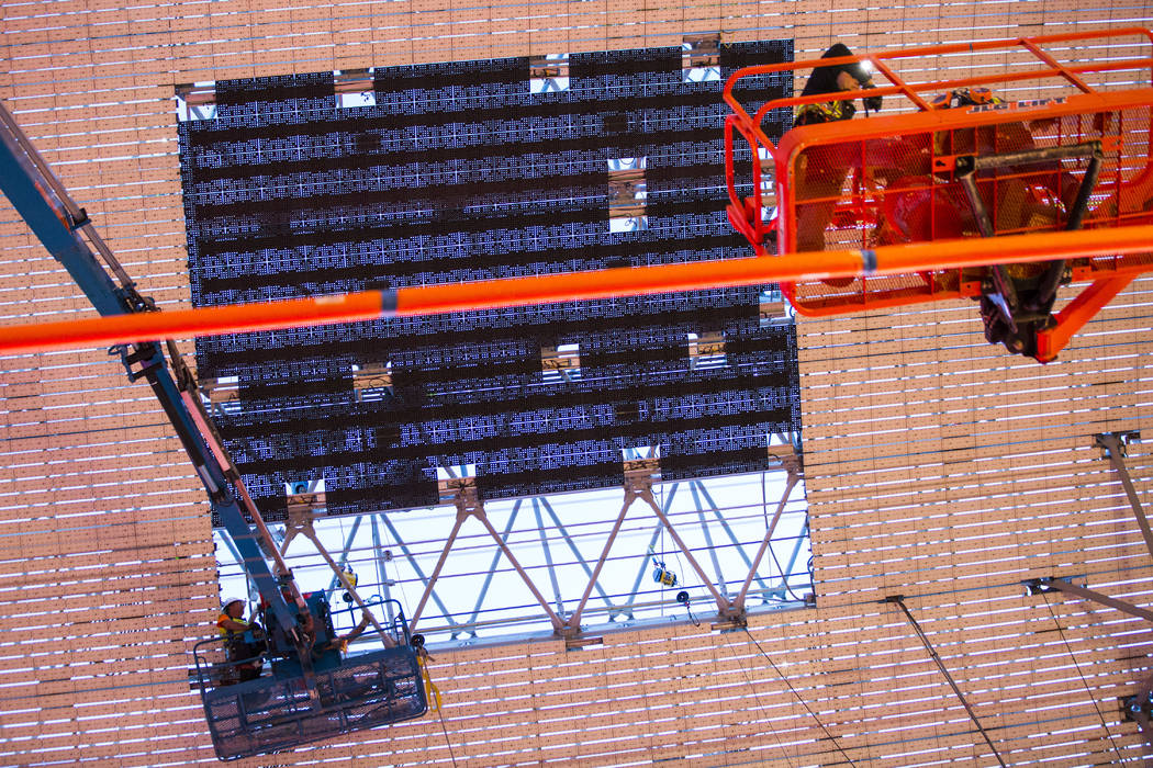 Two newly installed panels are seen during the second day of renovations of the Viva Vision can ...