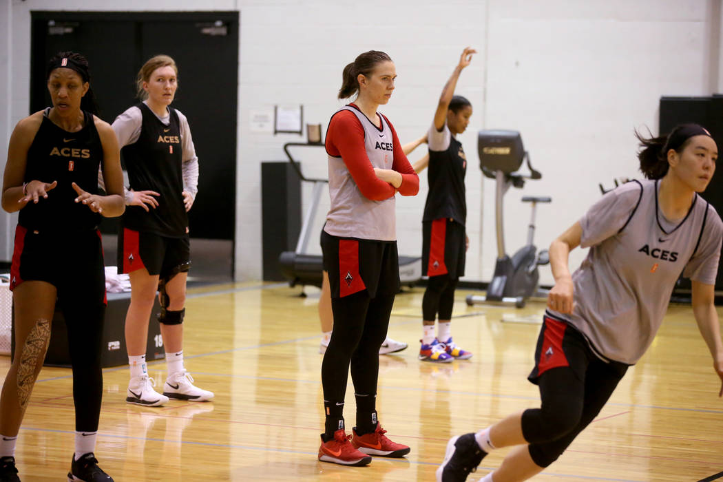 Aces center Ruth Hamblin watches a drill during practice at Cox Pavilion in Las Vegas Wednesday ...