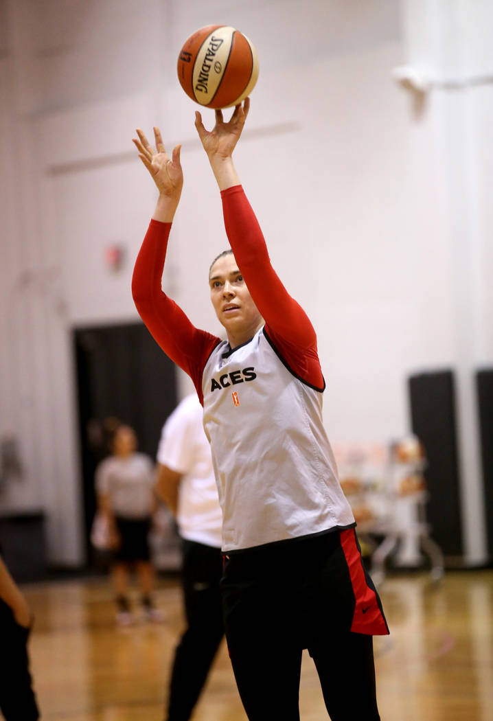 Aces center Ruth Hamblin runs a drill during practice at Cox Pavilion in Las Vegas Wednesday, M ...