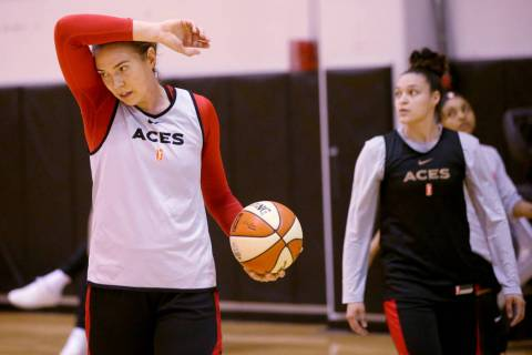 Aces center Ruth Hamblin, left, takes a break with teammate guard Kayla McBride during practice ...