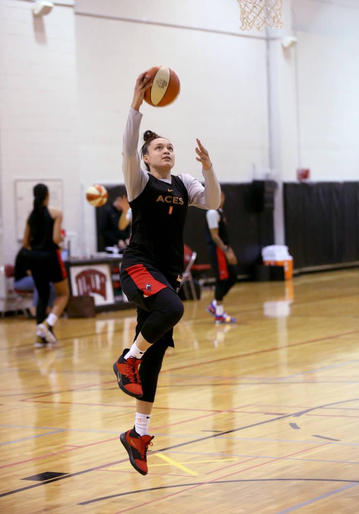 Las Vegas Aces guard Kayla McBride (21) shoots during practice at Cox Pavilion in Las Vegas Wed ...