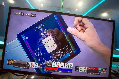 A video monitor shows a video poker screen during the 2016 GPI World Cup at Mediarex Sports & E ...