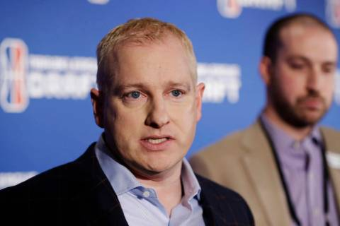 Brendan Donohue, managing director of the new NBA 2K esports league, speaks during a news inter ...