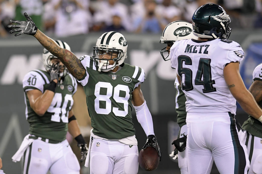 New York Jets wide receiver Jalin Marshall (89) gestures after running with the ball against th ...