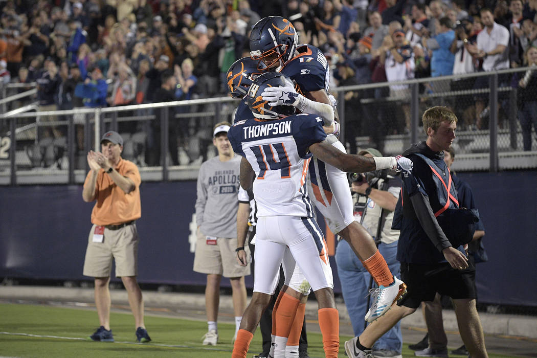 Orlando Apollos receiver Jalin Marshall (17) is congratulated by teammates after scoring a touc ...