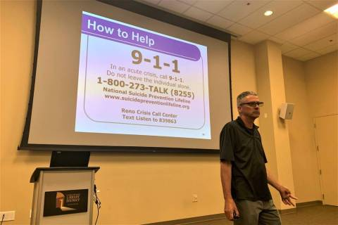 Richard Egan, a training and outreach facilitator with the Nevada Office of Suicide Prevention, ...