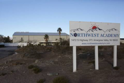 Entrance to Northwest Academy, a private boarding school in Amargosa Valley. (Michael Quine/Las ...