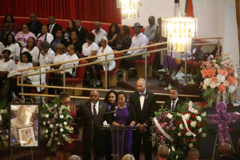 Assemblywoman Daniele Monroe-Moreno, center, speaks on behalf of legislative friends and collea ...