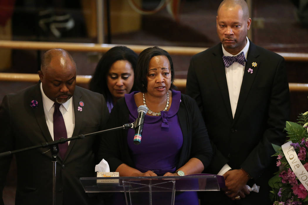 Assemblywoman Daniele Monroe-Moreno, third from left, with Assemblyman Jason Frierson, from lef ...