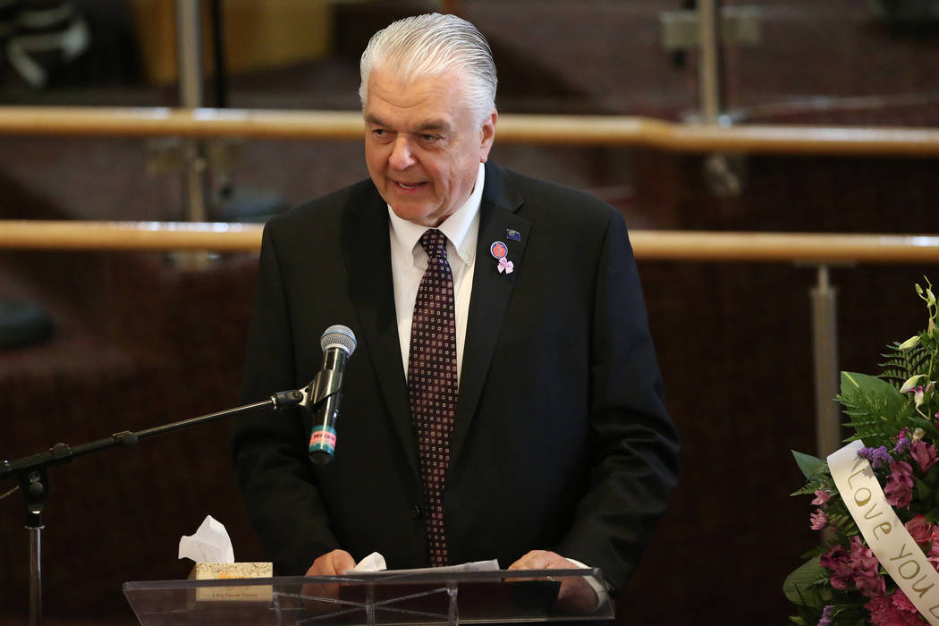 Nevada Gov. Steve Sisolak speaks during the funeral service for Assemblyman Tyrone Thompson, wh ...