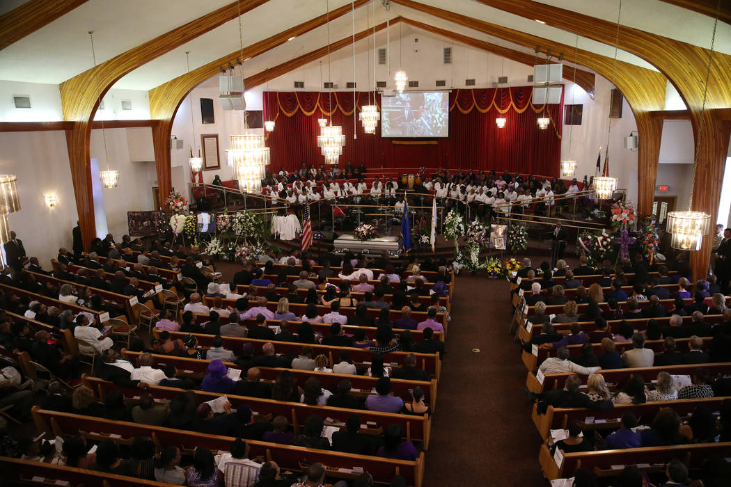 People attend the funeral service for Assemblyman Tyrone Thompson, who died May 4 at age 51, at ...