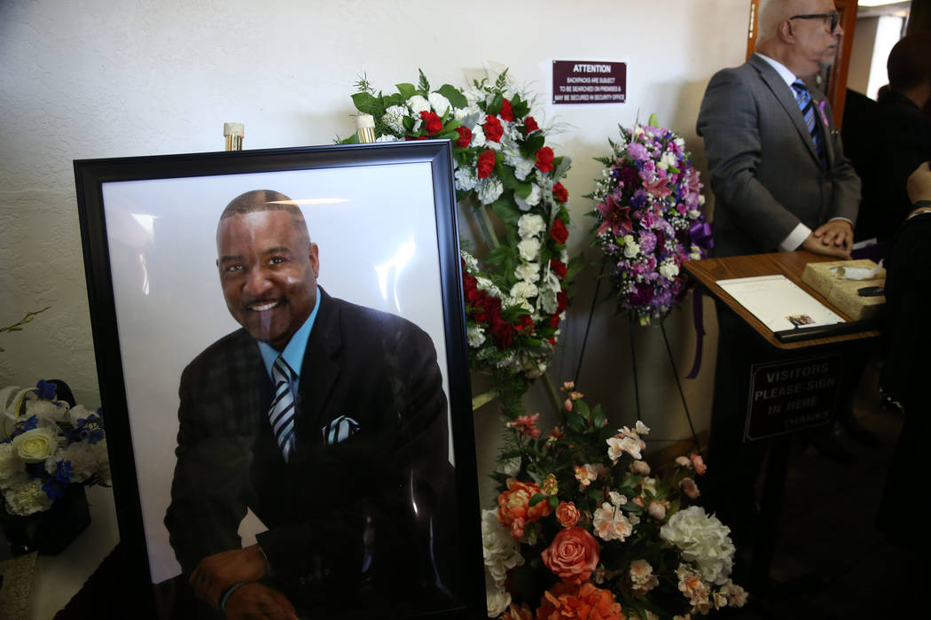 A picture of Assemblyman Tyrone Thompson, who died May 4 at age 51, during his funeral service ...