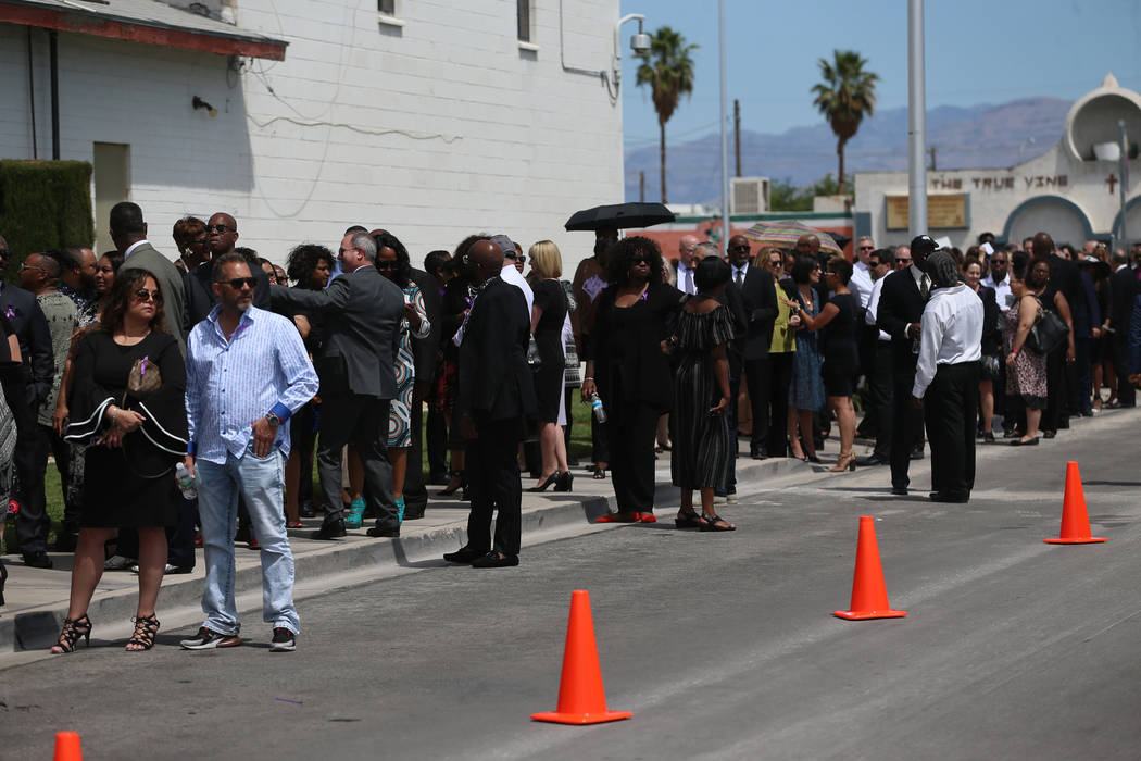 People stand in line to attend the funeral service for Assemblyman Tyrone Thompson, who died Ma ...