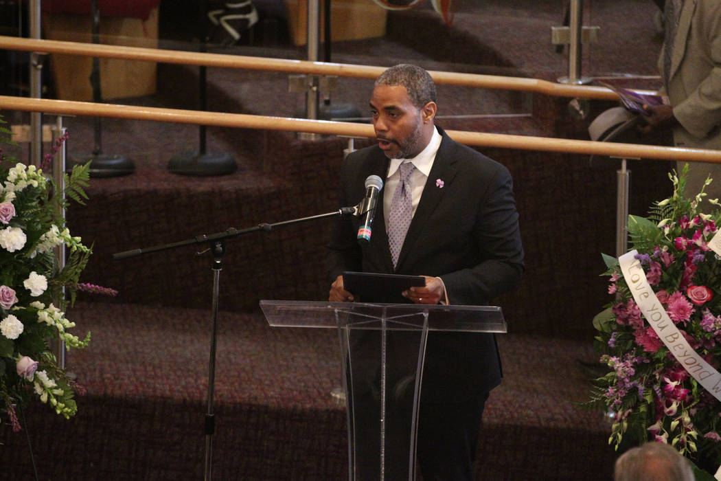 Rep. Steven Horsford, D-Nev., speaks during funeral service for Assemblyman Tyrone Thompson, wh ...