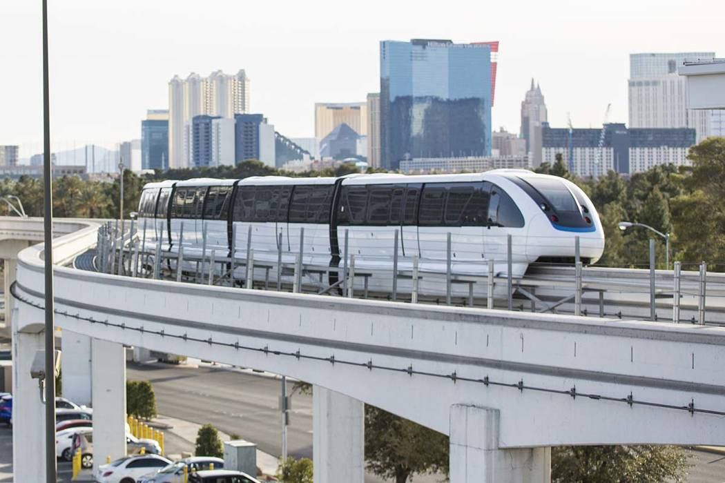 A northbound monorail approaches Convention Center Station on Tuesday, Feb. 12, 2019, in Las Ve ...