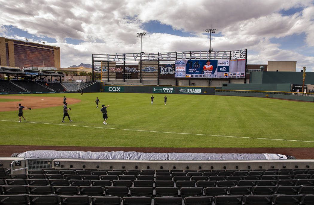 The Aviators new field tarp at Las Vegas Ballpark is the first one in franchise history and see ...