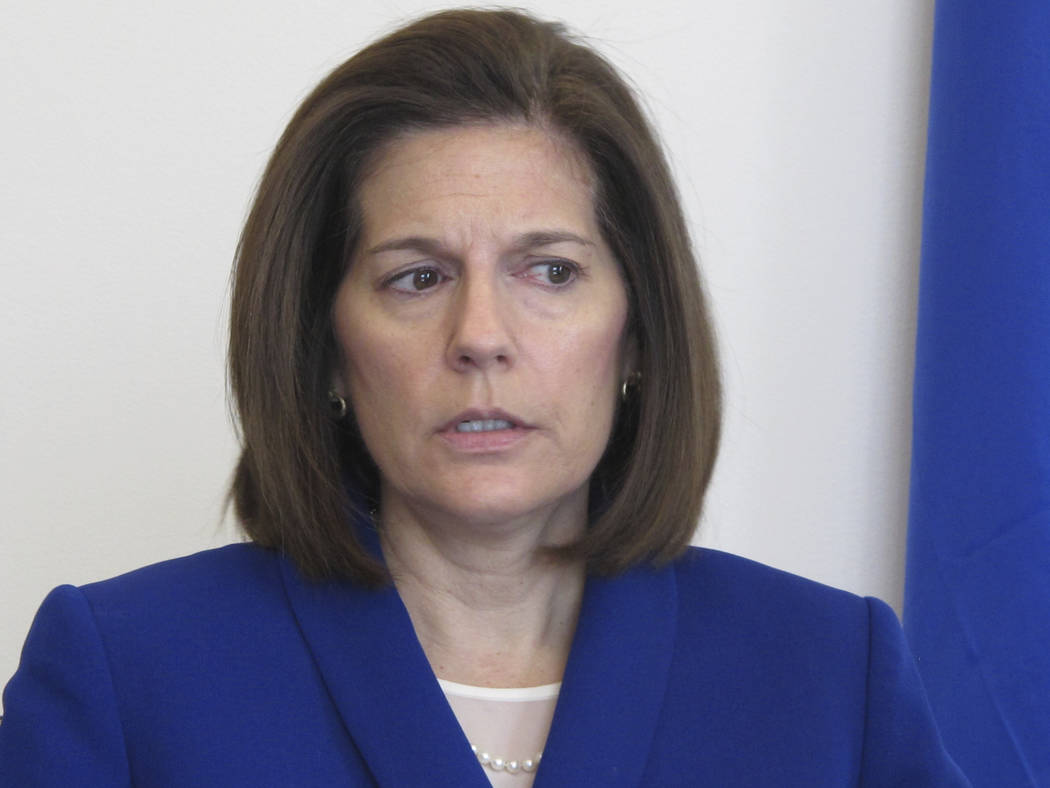 Nevada Sen. Catherine Cortez Masto, D-Nev., talks to reporters Jan. 11, 2019, in her office in ...