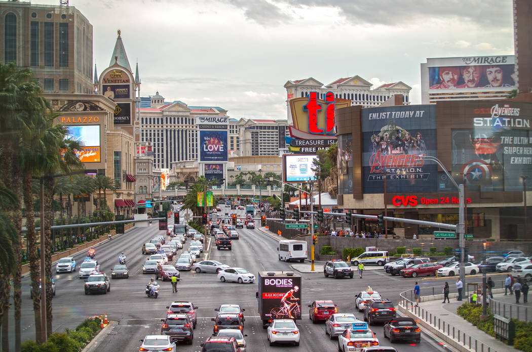 The Strip facing south on Thursday, May 9, 2019, in Las Vegas. (Benjamin Hager/Las Vegas Review ...