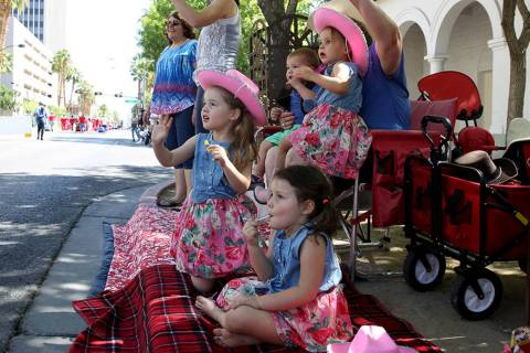 Las Vegas cousins, from left, Alexandra Hayes, 4, Sydney Hayes, 4, Luke Nelson, 15 months, and ...