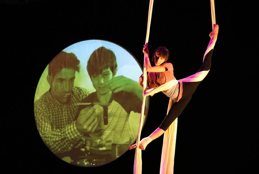 Cirque du Soleil performer, Sara Knauer, rehearses on the aerial silks for the new show 'Kinekt ...