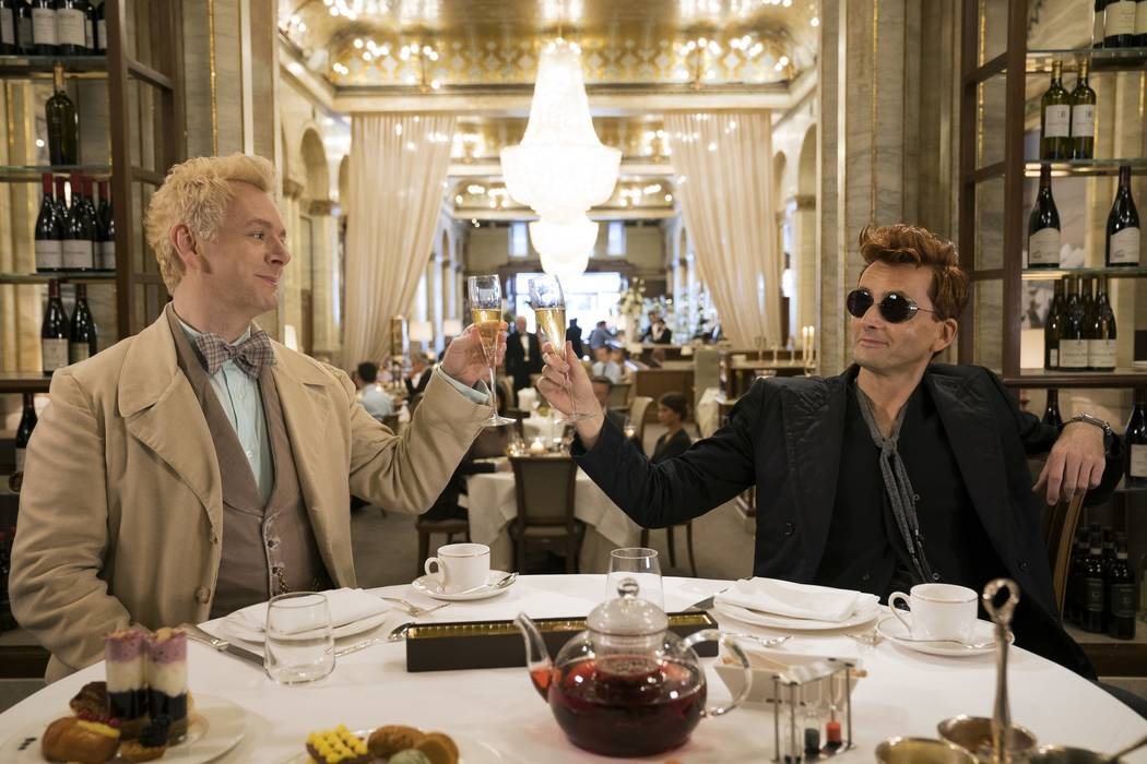 "Michael Sheen and David Tennant star in ""Good Omens."" (Chris Raphael/Amazon)"