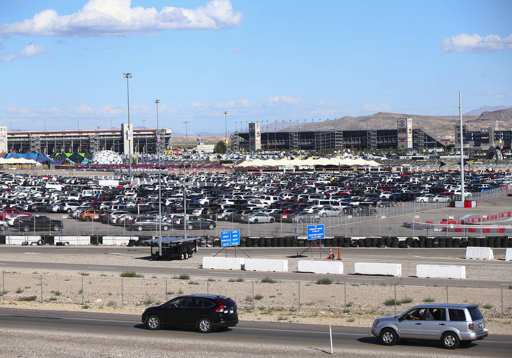 Traffic around the Las Vegas Motor Speedway as Electric Daisy Carnival attendees arrive for the ...